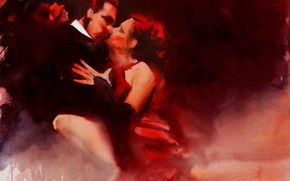 two, tango, woman, dance, watercolor, man, passion, kiss, Art, picture
