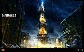 watch, rain, lightning, tower