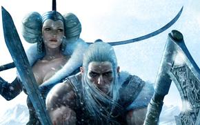 топор, викинг, меч, мужчина, оружие, воин, девушка, снег