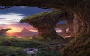 привал, водопад, планета, костер, закат, фантастический мир, мужчина