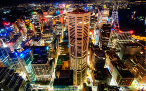 Sydney, vista dall'alto, edificio, citt, semaforo, megalopoli, notte