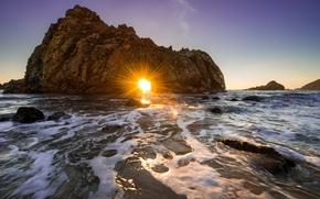 California, ocano, puesta del sol, roca