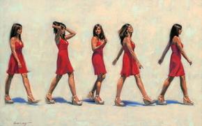 gait, red, Art, picture, girl, brunette, dress