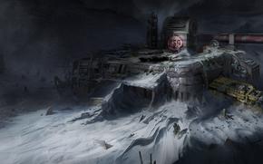 скафандр, снег, метель, мужчина, станция, планета