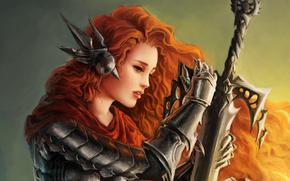 girl, Armor, Art, sword, Ginger, profile