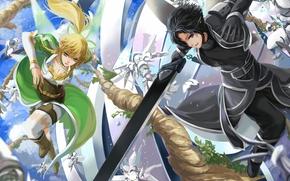 оружие, арт, парень, девушка, битва