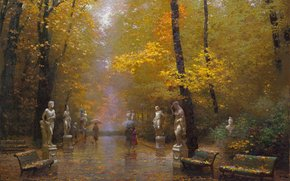 Trees, benches, Victor Nizovtsev, Statue, Gold, landscape, rain, park, Art, picture, tour, autumn, defoliation, Umbrellas