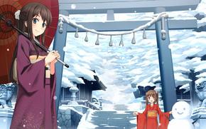templo, Arte, invierno, Chicas, paraguas, mueco de nieve