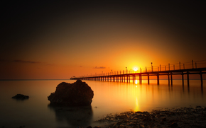 wharf, stone, sea, sunset, pier