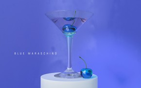 glass, Berries, background, 3d