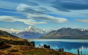 la strada per, Mount Cook, lungo il lago Pukaki, neozelandese