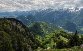 долина, горы, облака