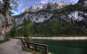 droga, jezioro, gosau, Austria