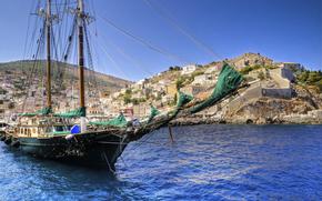 sailing ship, ship, sea, Greece, nature