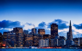 bay, building, sky, California, san francisco, Skyscrapers, city, evening, USA, home