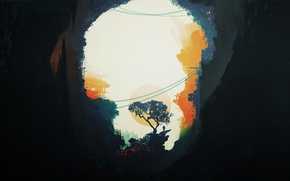 cave, man, Trees, home, sun