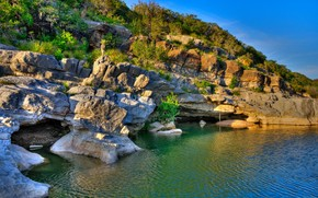 pedernales falls state park, texas, lake, rocks, landscape