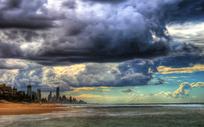 coast, storm clouds, city