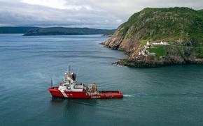 isla, Terranova, Canad, ocano, enviar, la guardia costera, rocas