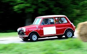 Blur, retro, race, Mini Cooper, Mini, red