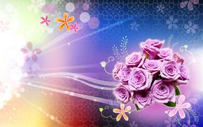 ramo, lnea, crculos, rosa, Rosa, ornamento, luz