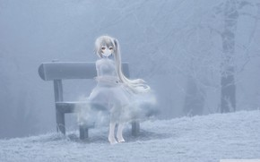 Winter, bench, cold, girl, Vocaloid, shop, Art