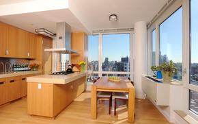 interno, megalopoli, appartamenti, design, cucina, stile, camera