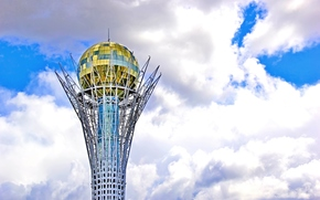 Baiterek, clouds, Astana, sky, Kazakhstan, wallpaper, gold, tower, tower, architecture