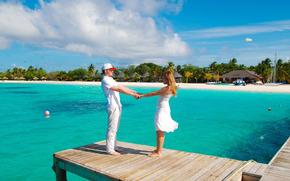 praia, recreao, trpicos, Maldivas
