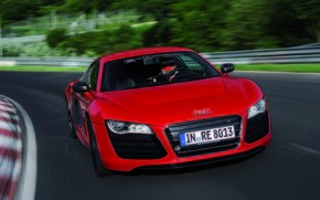 capot, Racer, lumires, machine, rouge, Audi, conducteur