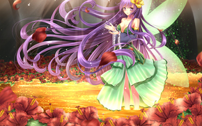 art, toshi, girl, view, smile, wings, magic, Flowers