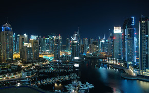 Dubai, city, united, arab, emirates, dubai marina, dubai, The combined, Arab, Emirates, home, high-rise, Port, boats, the night.