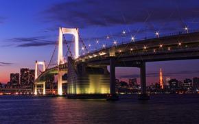 Japon, tokyo, capital, Japon, Tokyo, capital, mgalopole, pont, lumires, clairage, lumires, baie, maison, btiment, tour, soire, coucher du soleil, Bleu, violet, ciel, nuages