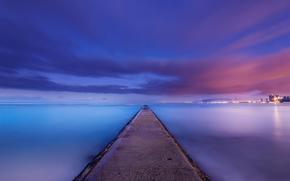 USA, Hawaii, USA, Hawaii, ocan, cte, cte, calmer, nuit, Bleu, lilas, ciel, nuages, au loin, Ville, lumires