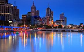 city, australia, melbourne, вечер, дома, высотки, мосты, деревья.