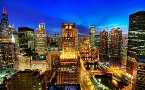 Chicago, naght, USA, USA, nuit, rivire, ponts, maison, Immeubles de grande hauteur, btiment, lumires, route.