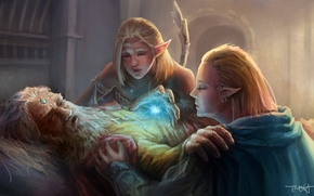 old man, magic, at death's door, Art, guy, Elves, girl