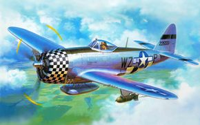 USA, bomber, fighter, air force, Art, plane