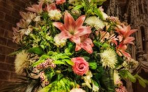 букет, розы, гвоздики, хризантемы