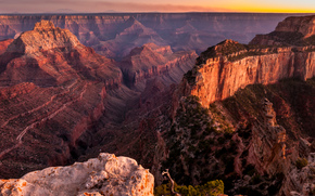 Rocks, tramonto, canyon, vista dall'alto