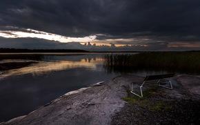 ночь, озеро, скамья