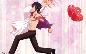balloons, guy, anime, Art, fairy tale of the tail, girl