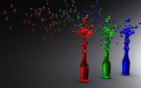 Bottiglia, neon, 3d