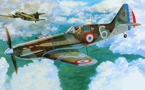 самолет, французский, арт, истребитель, одноместный, Франции, ВВС