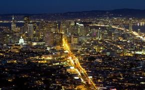 rue, pont, USA, Ville, San Francisco, btiment, lumires, eau