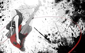 девушка, гитара, аниме