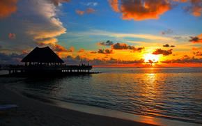 mar, puesta del sol, bungalow, trpicos, Maldivas