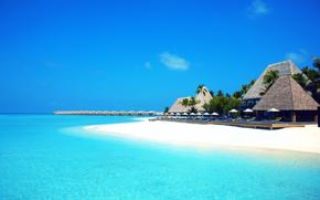 Maldive, tropici, spiaggia, bungalow