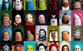 Besar, Creatividad, Che Guevara, Spiderman, Spock, homosexual, Dalai Lama, Gaddafi, los dedos, Hitler, Pokemon, Mickey Mouse, Arte, Lucha, jeque, Los Pitufos, Mr. T, Sherlock Holmes, Steve Jobs, Mao, Avatar, Hannibal Lecter, Hellow gatito, Shrek, Garibald