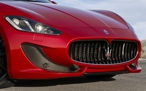 Maserati, logo, lumires, avant, gril